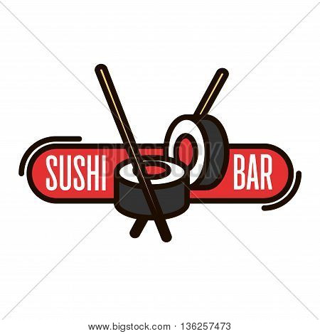 Sushi bar thin line icon of salmon sushi rolls with chopsticks and red banner. Japanese seafood restaurant signboard or takeaway food packaging design usage