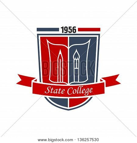 Arts education symbol of paintbrush and pencil with open book on red and blue heraldic shield decorated by ribbon banner with caption State College. May be use as badge, emblem or insignia design