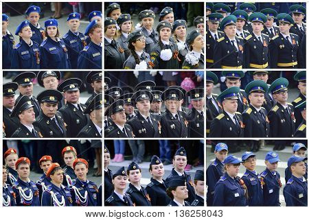 NakhodkaRussia09.05.2016 Military parade to celebrate World War II Victory Day on May fragments damaged the see border troops Ministry of Emergency Situations the Cadets