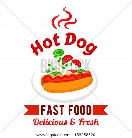 Takeaway fast food sandwiches menu design element with hot dog, garnished with mustard, ketchup, fresh tomatoes, cucumbers and onions vegetables. Fast food hot dog with fresh vegetables and sauces design template