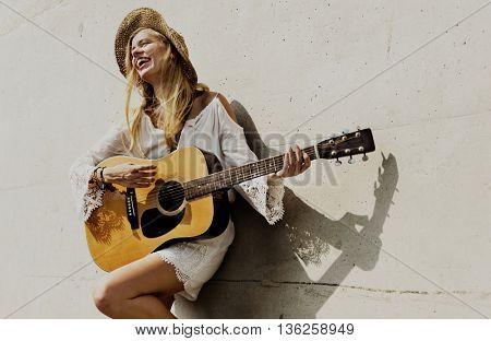 Woman Girl Playing Guitar Enjoyment Concept