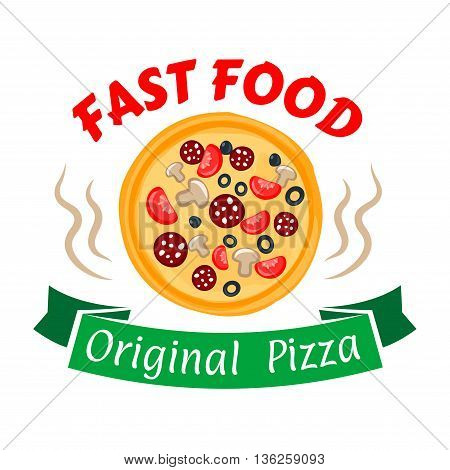Hot and spicy pepperoni pizza symbol with sausages and cheese, olives, tomatoes and mushrooms toppings. Fast food pizza icon with green ribbon banner for pizzeria and cafe design