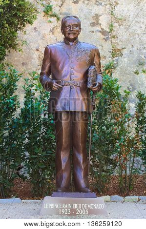 MONACO FRANCE JUNE 04 2016: Statue of Prince Rainier III of Monaco