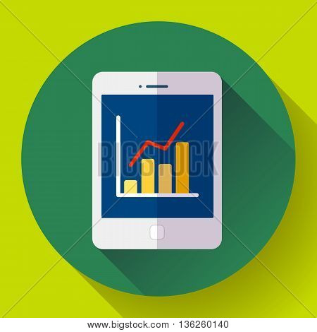 Tablet flat icon in ipad style with stat diagram. Flat 2.0 design style