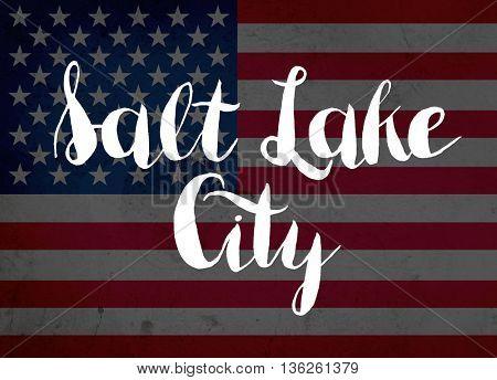 Salt lake city written with hand-written letters
