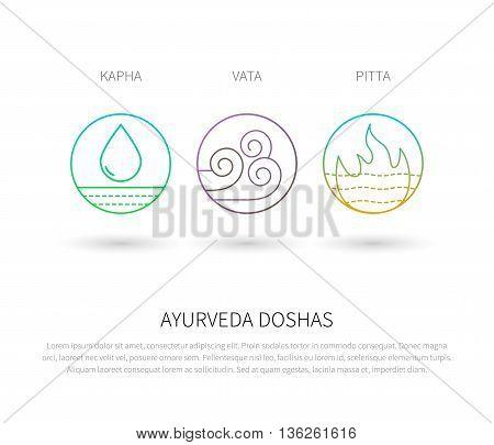 Ayurveda doshas vector thin icons isolated on white. Ayurvedic body types vata dosha, pitta dosha, kapha dosha. Infographic with flat linear icons. Alternative ayurvedic medicine.
