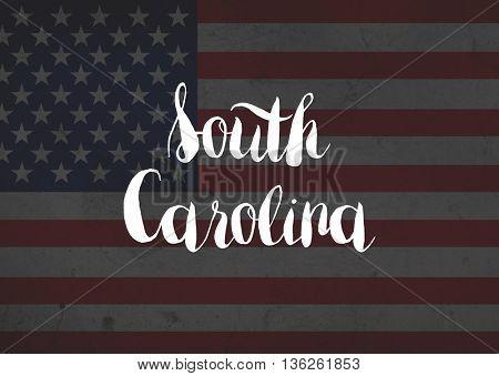 South Carolina written on flag