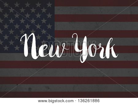 NYC written on flag
