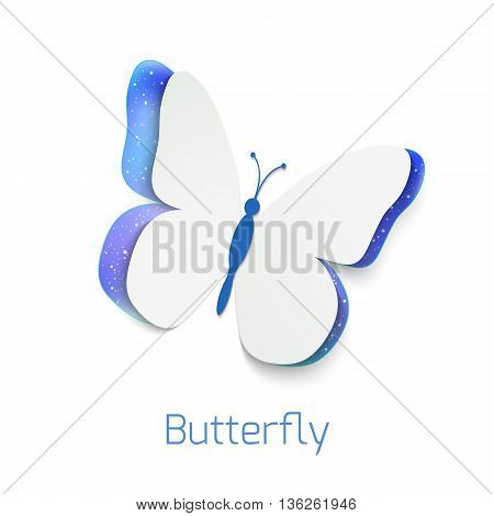Butterfly cut out of paper isolated on white background. Abstract narure design. Realistic vector illustration of papercut butterfly.