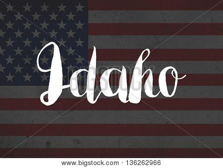 Idaho written on flag
