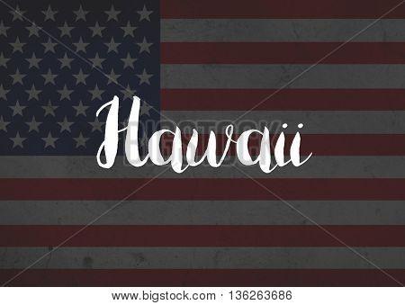 Hawaii written on flag
