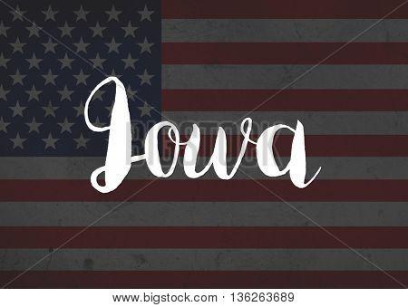 Iowa written on flag