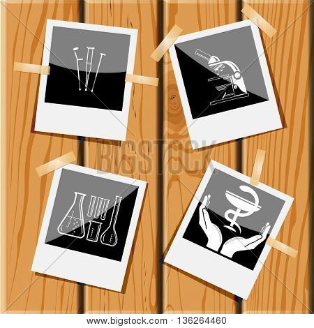 4 images: crutches, lab microscope, chemical test tubes, pharma symbol in hands. Medical set. Photo frames on wooden desk. Vector icons.