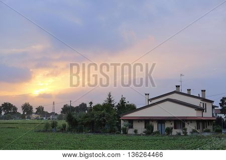 Rovigo, Italia - June, 19, 2016: country house in Rovigo, Italia