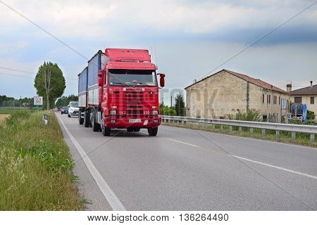 Rovigo, Italy - June, 28, 2016: truck on a highway in Rovigo, Italy