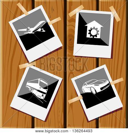 4 images: car, repair shop, train, airliner. Transport set. Photo frames on wooden desk. Vector icons.