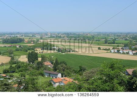 Panorama with a view of Monselice region, Italy