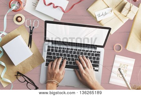 Using Laptop Surfing Searching Mockup Copyspace Concept