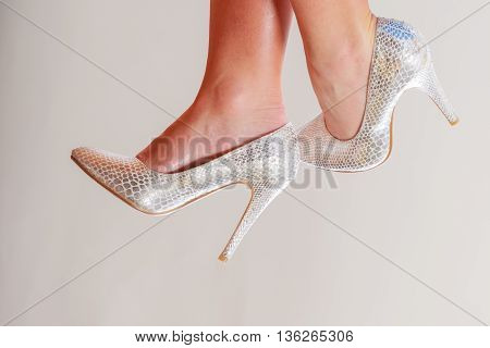 Closeup Of Sexy Woman Feet In High Heels.