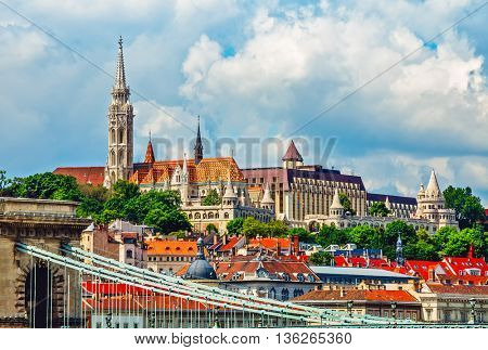View to fishermans bastion castle and tower in budapest city hungary