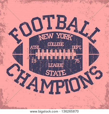 New York Sport Typography stamp, Football Athletic Dept. T-shirt graphics, Vintage Print for sportswear apparel. vector