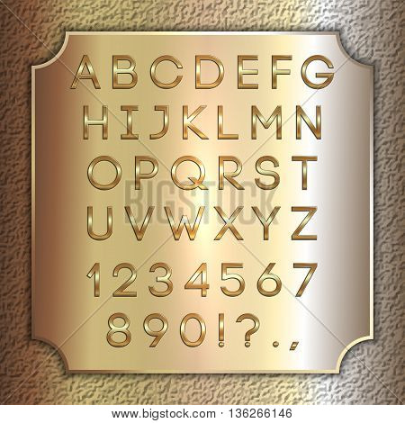 Vector gold coated alphabet letters, digits and punctuation on brass metallic plate
