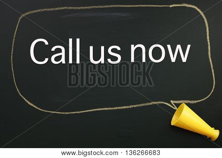 megaphone and speech bubble with text call us now
