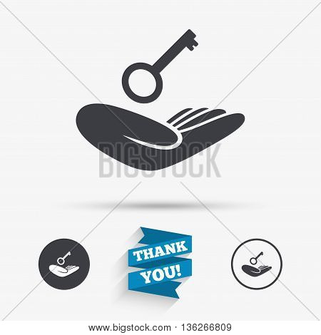 House insurance sign. Hand holds home key symbol. Insurance of property. Flat icons. Buttons with icons. Thank you ribbon. Vector