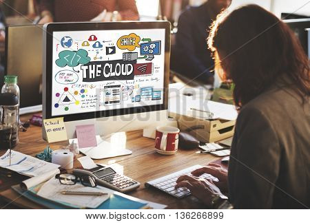 Technology The Cloud Online Storage Concept