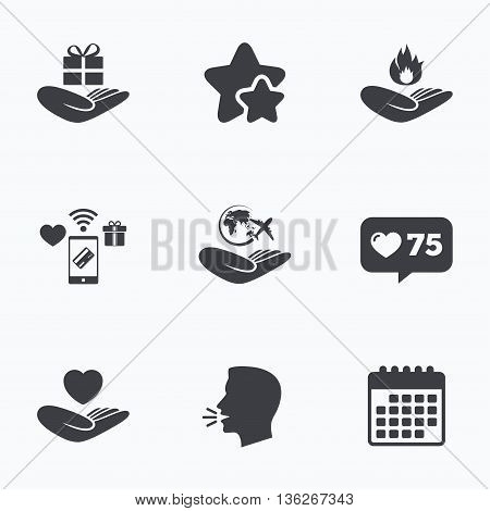 Helping hands icons. Health and travel trip insurance symbols. Gift present box sign. Fire protection. Flat talking head, calendar icons. Stars, like counter icons. Vector