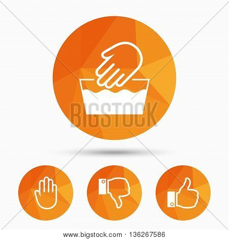 Hand icons. Like and dislike thumb up symbols. Not machine washable sign. Stop no entry. Triangular low poly buttons with shadow. Vector
