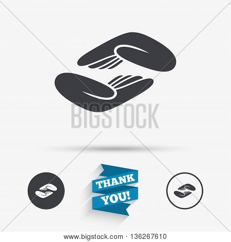 Helping hands sign icon. Charity or endowment symbol. Human palm. Flat icons. Buttons with icons. Thank you ribbon. Vector