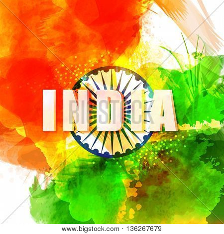 3D Text India with Ashoka Wheel on abstract brush stroke background, Elegant Greeting Card for Indian Independence Day and Republic Day celebration.