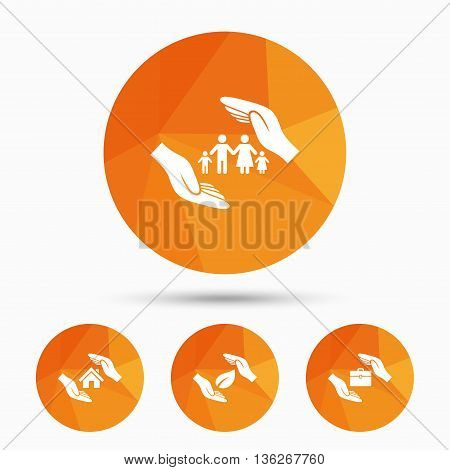 Hands insurance icons. Human life insurance symbols. Nature leaf protection symbol. House property insurance sign. Triangular low poly buttons with shadow. Vector