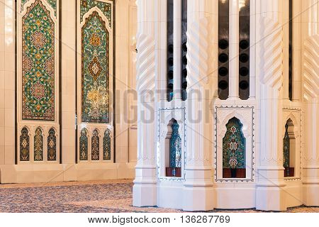 Muscat Oman - February 28 2016: Interior of Sultan Qaboos Grand Mosque in Muscat Oman. This is the largest and most decorated mosque in this mostly Muslim country.