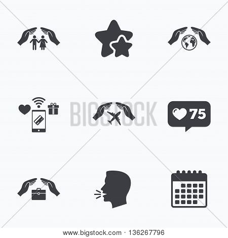 Hands insurance icons. Human life insurance symbols. Travel flight baggage symbol. World globe sign. Flat talking head, calendar icons. Stars, like counter icons. Vector