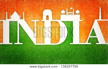 Creative Text India with Famous Monuments on saffron and green colour abstract background. Poster, Banner or Flyer for Indian Independence Day and Republic Day celebration.