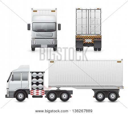 Illustration of heavy truck and container isolated on white background.