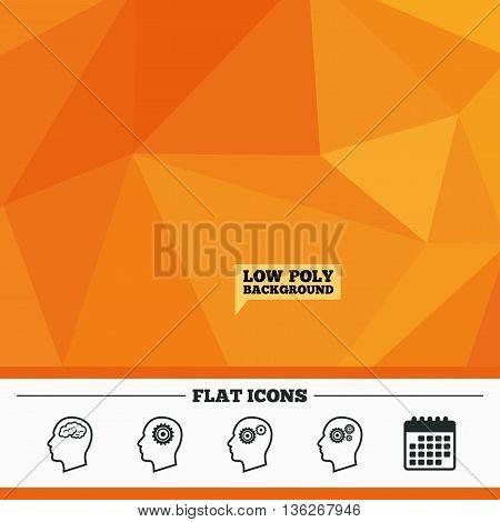 Triangular low poly orange background. Head with brain icon. Male human think symbols. Cogwheel gears signs. Calendar flat icon. Vector