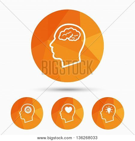 Head with brain and idea lamp bulb icons. Male human think symbols. Cogwheel gears signs. Love heart. Triangular low poly buttons with shadow. Vector
