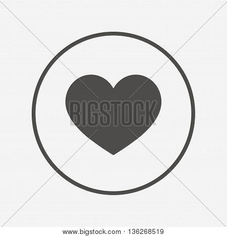 Love icon. Heart sign symbol. Flat heart icon. Simple design heart symbol. Heart graphic element. Round button with flat heart icon. Vector