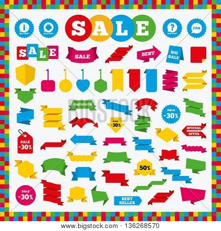Banners, sale stickers and sale labels. Help point icons. Question and information symbols. FAQ speech bubble signs. Sale price tags. Vector