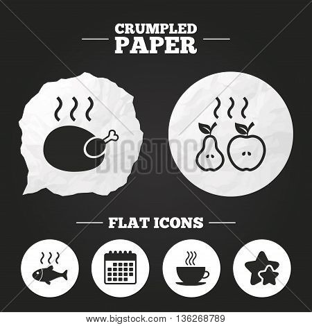 Crumpled paper speech bubble. Hot food icons. Grill chicken and fish symbols. Hot coffee cup sign. Cook or fry apple and pear fruits. Paper button. Vector