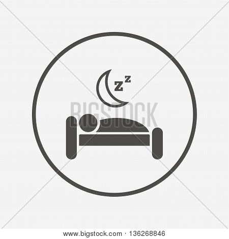 Hotel sign icon. Rest place. Sleeper symbol. Flat hotel icon. Simple design hotel symbol. Hotel graphic element. Round button with flat hotel icon. Vector