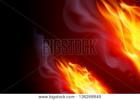 Realistic Fire Flames Effect on Black Background
