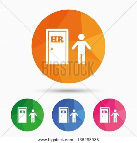 Human resources sign icon. HR symbol. Workforce of business organization. Man at the door. Triangular low poly button with flat icon. Vector
