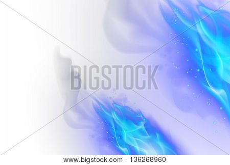 Realistic Blue Fire Flames Effect on White Background