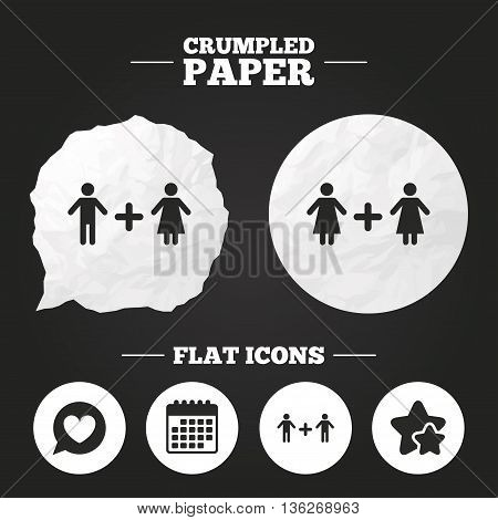 Crumpled paper speech bubble. Couple love icon. Lesbian and Gay lovers signs. Romantic homosexual relationships. Speech bubble with heart symbol. Paper button. Vector