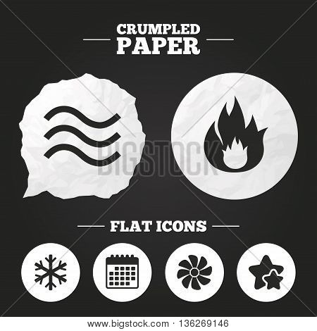 Crumpled paper speech bubble. HVAC icons. Heating, ventilating and air conditioning symbols. Water supply. Climate control technology signs. Paper button. Vector