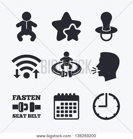 Baby infants icons. Toddler boy with diapers symbol. Fasten seat belt signs. Child pacifier and pram stroller. Wifi internet, favorite stars, calendar and clock. Talking head. Vector